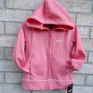 SIZE 5.NWT DKNY Girl's Kids Pink Hooded sweatshirt